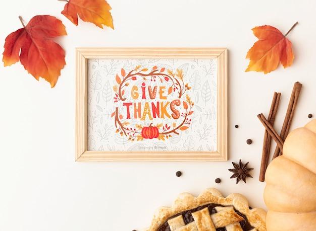 Mock-up met thanksgiving day-ontwerp Gratis Psd