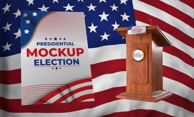 Mock-up podium en poster voor presidentsverkiezingen voor de verenigde staten Gratis Psd