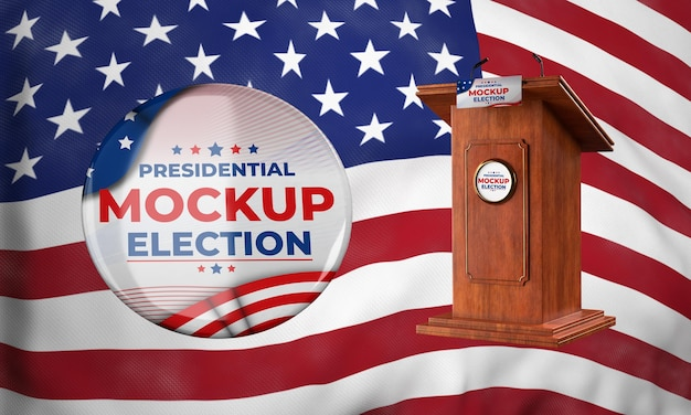 Mock-up podium voor presidentsverkiezingen en insignes voor de verenigde staten Gratis Psd