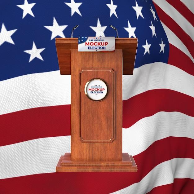 Mock-up podium voor presidentsverkiezingen voor de verenigde staten met amerikaanse vlag Gratis Psd