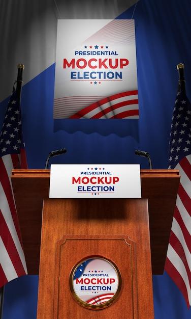 Mock-up podium voor presidentsverkiezingen voor de verenigde staten Gratis Psd
