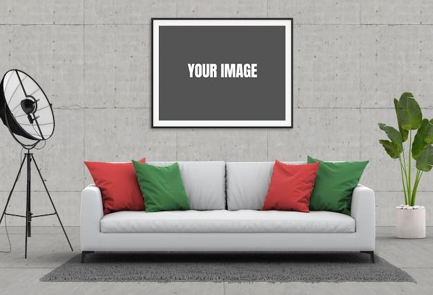 Mock up poster frame in hipster interni moderno soggiorno Psd Premium
