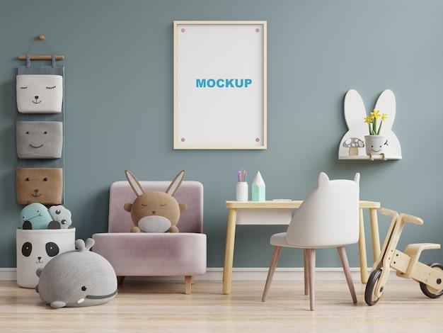 Mock up poster frame in kinderkamer 3d-rendering Gratis Psd