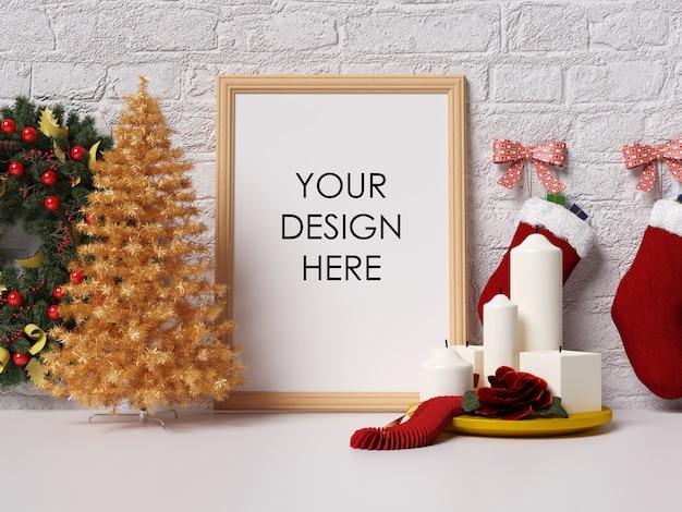 Mock up poster frame interior con decoración de navidad PSD Premium