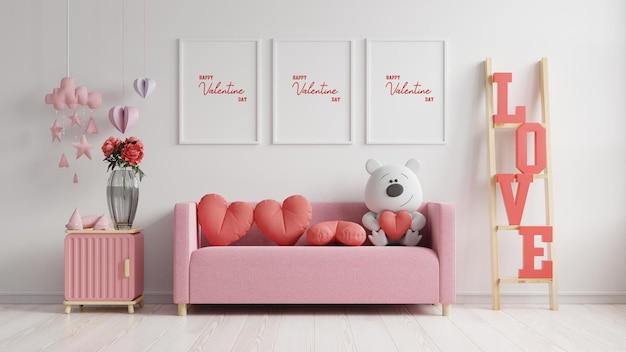 Mock up poster frame valentijn kamer modern interieur hebben een bank en home decor voor valentijnsdag, 3d-rendering Premium Psd