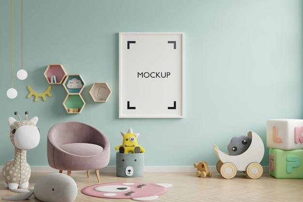 Mock up poster in de kinderkamer Gratis Psd