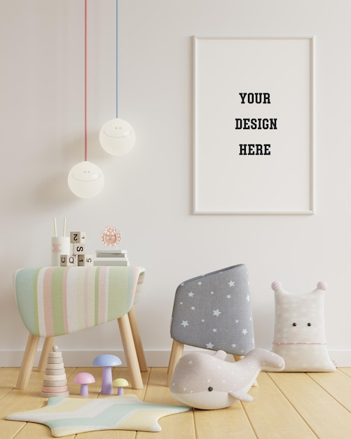 Mock up poster in kinderkamer op witte muur Gratis Psd