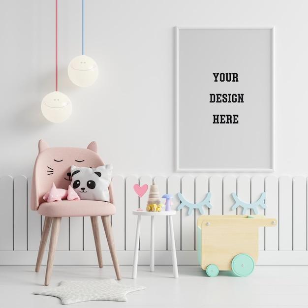 Mock up posterframe in de kinderkamer Premium Psd