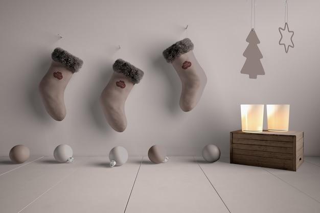 Mock-up sokken collectie verslaafd aan muur Gratis Psd