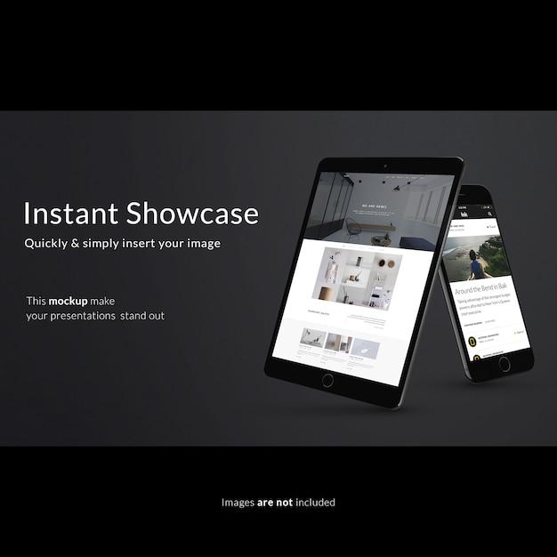 Mock up de tableta y smartphone sobre fondo negro PSD gratuito