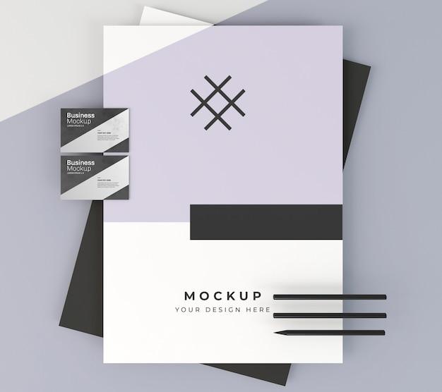 Mock-up van visitekaartjes en briefpapier Premium Psd