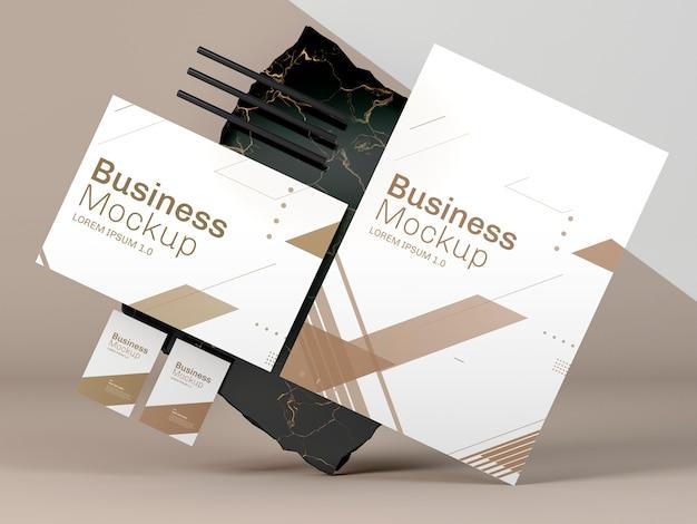 Mock-up van zakelijke briefpapier en marmer Premium Psd