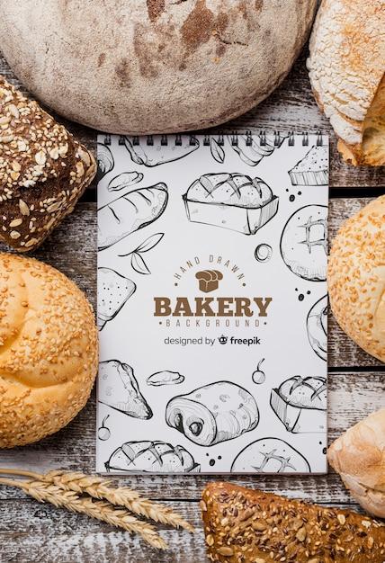 Mock-up voor brood en notitieboekjes Gratis Psd