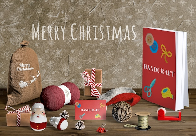 Mock-up voor de maker van de kerstscène Gratis Psd