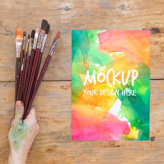 Mock-up voor het schilderen van penseel Gratis Psd