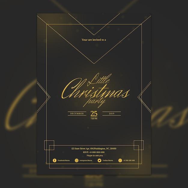 Mockup de cartel elegante oscuro de fiesta de navidad PSD gratuito