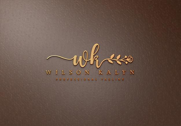 Mockup con logo dorato di lusso su pelle premium psd Psd Premium