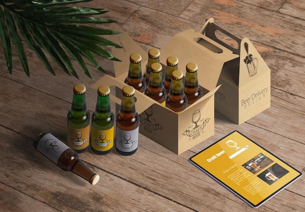Mockup d'imballaggio per la birra o il ristorante del vino Psd Gratuite
