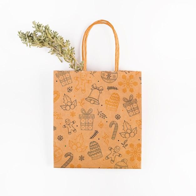 Mockup del sacchetto della spesa con il concetto di natale Psd Gratuite