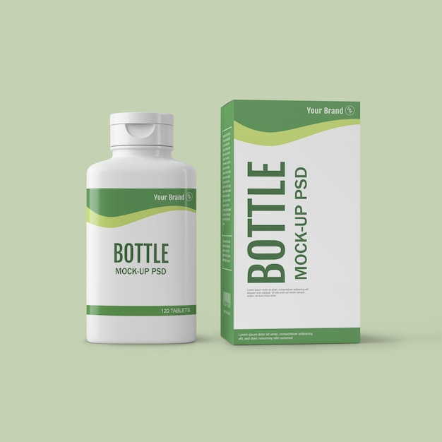 Mockup della bottiglia della droga Psd Premium