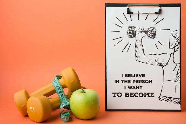 Mockup di appunti con il concetto di fitness Psd Gratuite