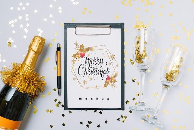 Mockup di appunti con la decorazione del nuovo anno Psd Gratuite