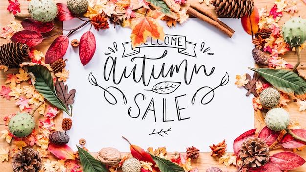 Mockup di autunno con i bordi delle foglie Psd Gratuite