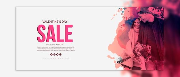 Mockup di banner di vendita di giorno di san valentino Psd Gratuite