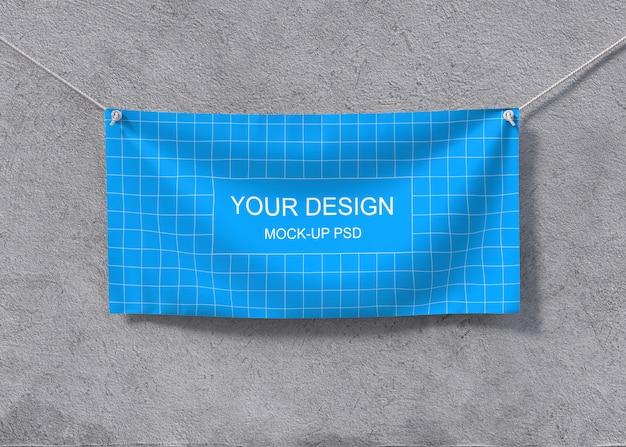 Mockup di banner tessili Psd Premium