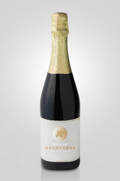 Mockup di bottiglia di champagne Psd Premium
