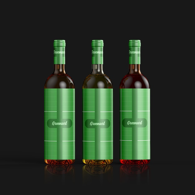 Mockup di bottiglia di vino in vetro trasparente Psd Premium