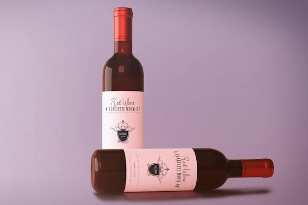 Mockup di bottiglia di vino rosso Psd Premium
