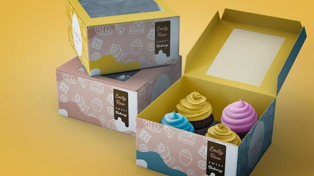Mockup di branding di cupcake Psd Gratuite