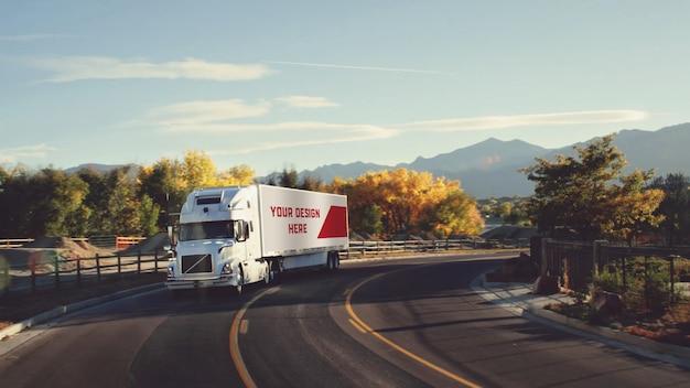 Mockup di camion rimorchio Psd Premium