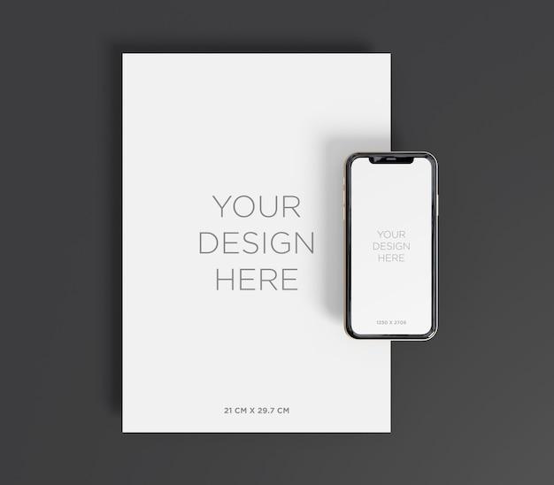 Mockup di cancelleria con carta a4 e vista dall'alto dello smartphone Psd Premium