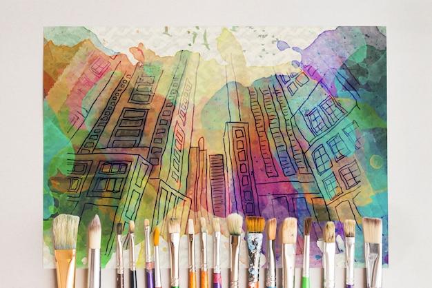 Mockup di carta con il concetto di artista Psd Gratuite