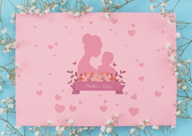 Mockup di carta di giorno di madri piatto lay Psd Gratuite