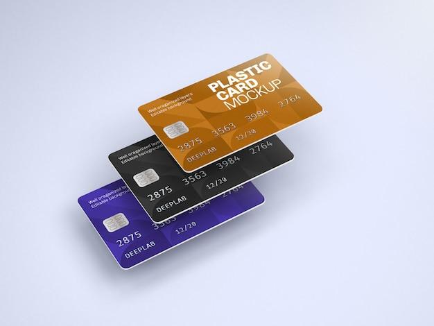 Mockup di carta di plastica con colore di sfondo modificabile Psd Premium