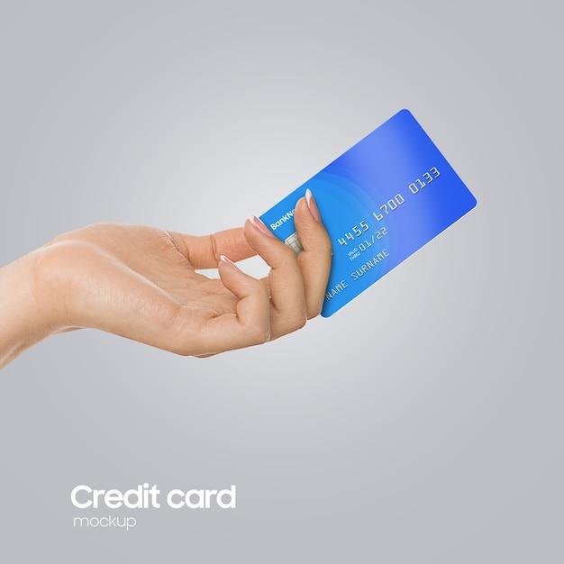 Mockup di carta di plastica realistico a portata di mano Psd Premium