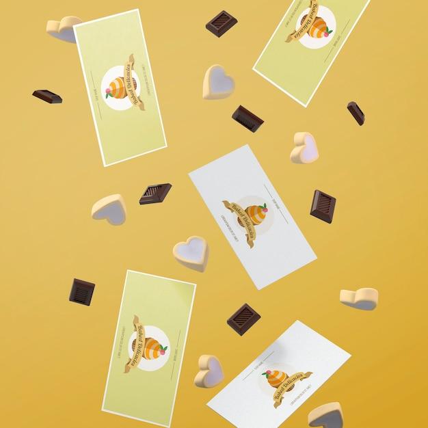 Mockup di carte con il concetto di torta Psd Gratuite