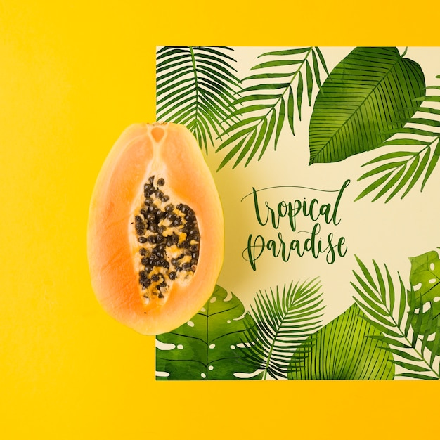 Mockup di carte piatte per concetti estivi Psd Gratuite