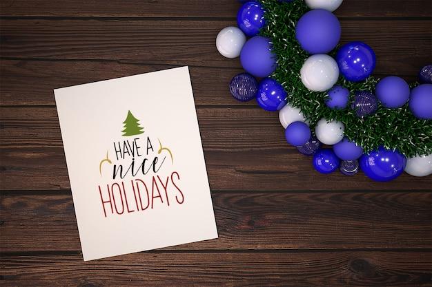 Mockup di cartolina di natale con ornamento Psd Gratuite