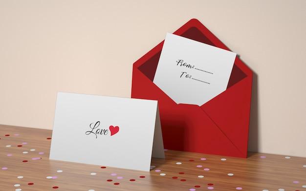 Mockup di cartolina di san valentino Psd Gratuite