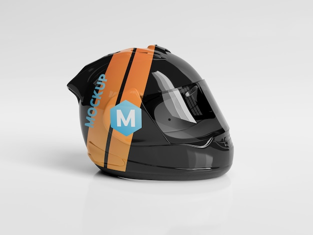 Mockup di casco da motociclista Psd Premium