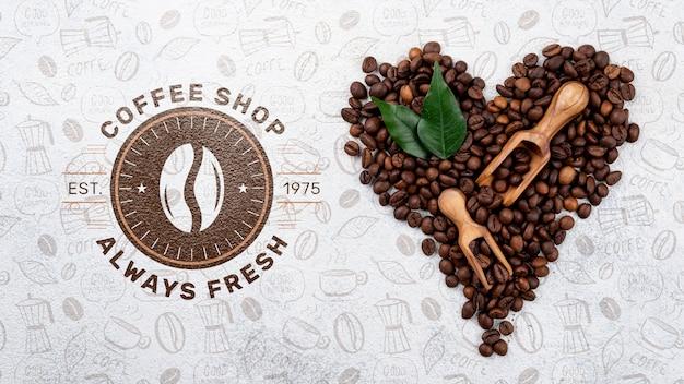 Mockup di chicchi di caffè vista dall'alto Psd Gratuite