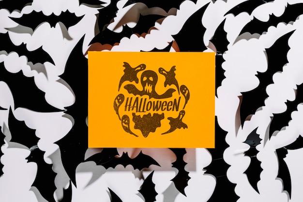Mockup di copertina arancione di halloween Psd Gratuite