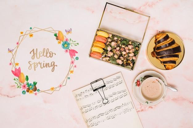 Mockup di cornice floreale per la primavera Psd Gratuite