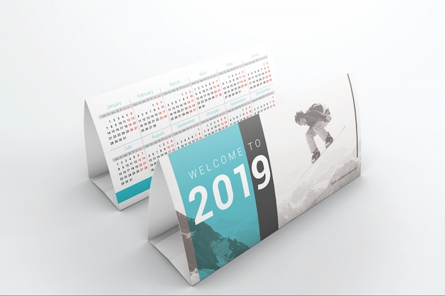 Mockup di due calendari da tavolo Psd Premium