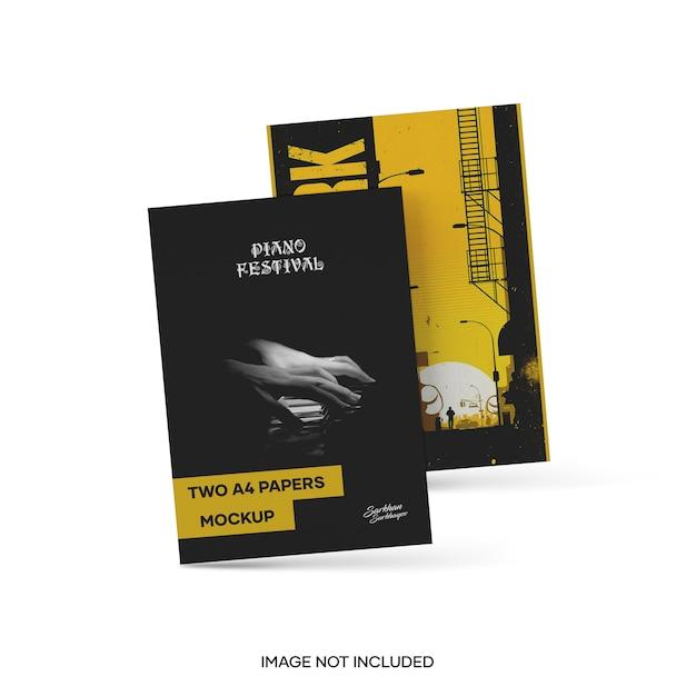 Mockup di due carte a4 Psd Premium