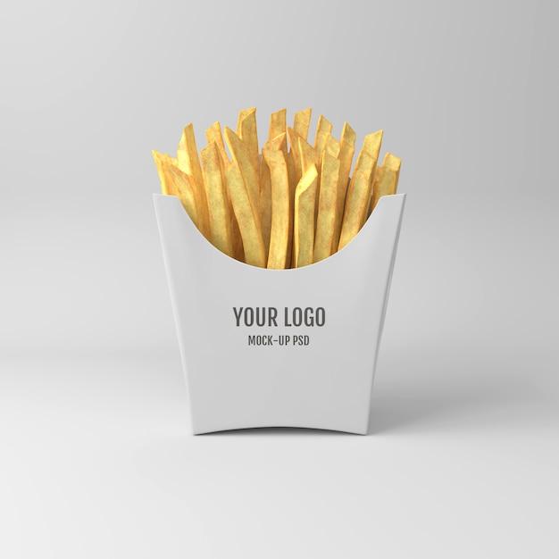 Mockup di imballaggio di patatine fritte Psd Premium